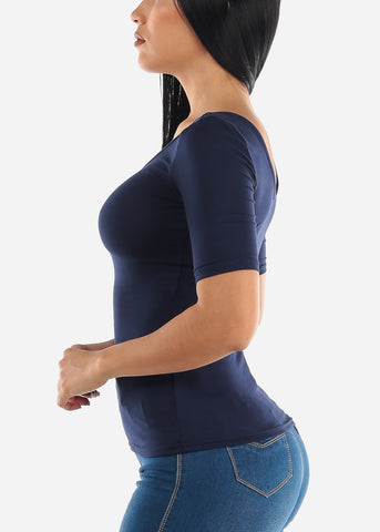 Navy Scoop Neck Casual Top