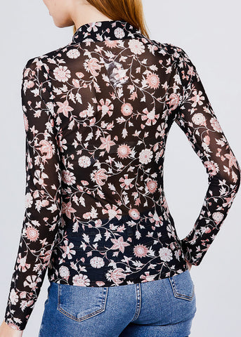 Image of Black Floral Mesh Knit Shirt