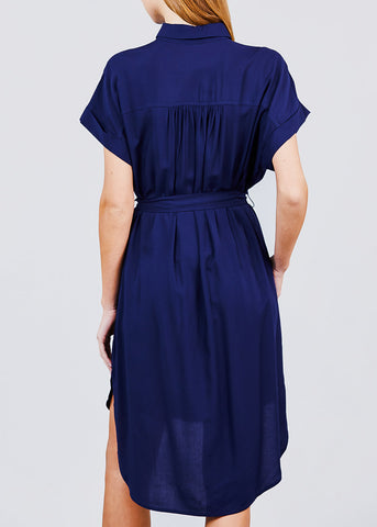 Image of Button Front Belted Navy Shirt Dress