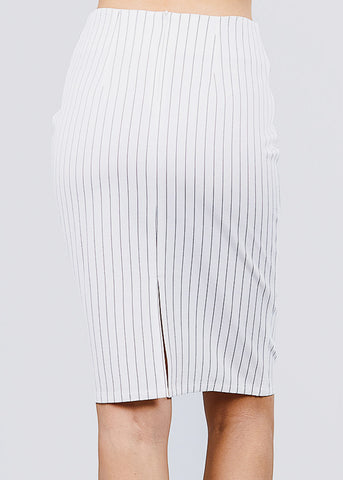 Image of White Stripe Pencil Midi Skirt