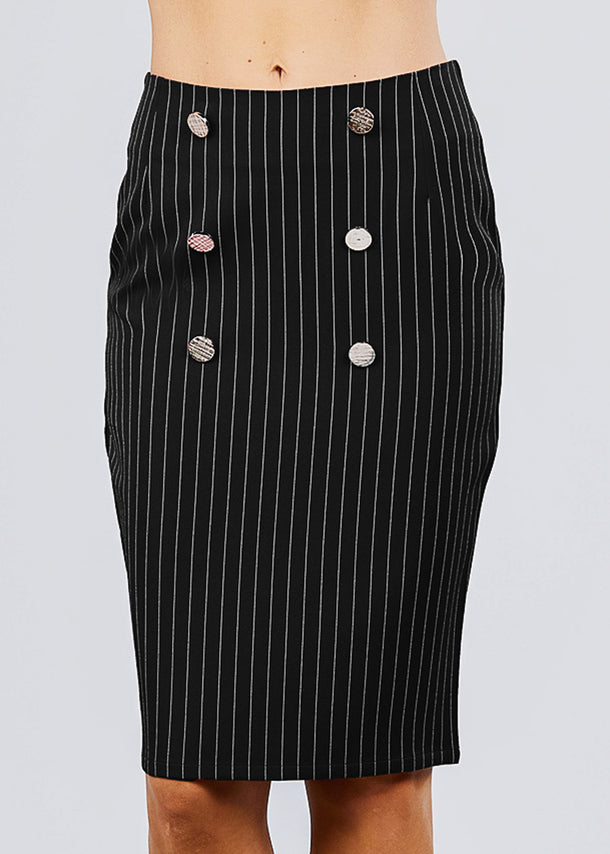 Black Stripe Pencil Midi Skirt