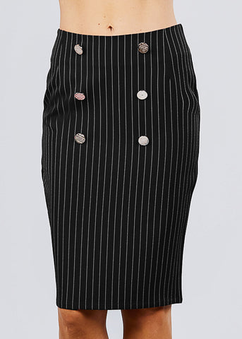Image of Black Stripe Pencil Midi Skirt