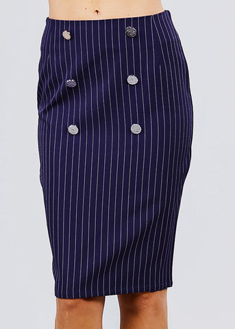 Image of Navy Stripe Pencil Midi Skirt