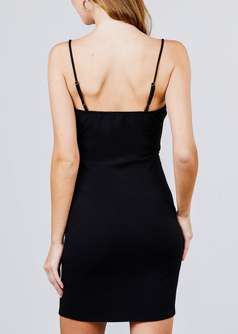 Image of Button Detail Black Mini Dress
