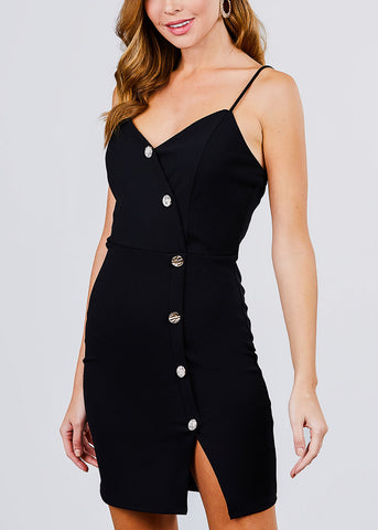 Button Detail Black Mini Dress