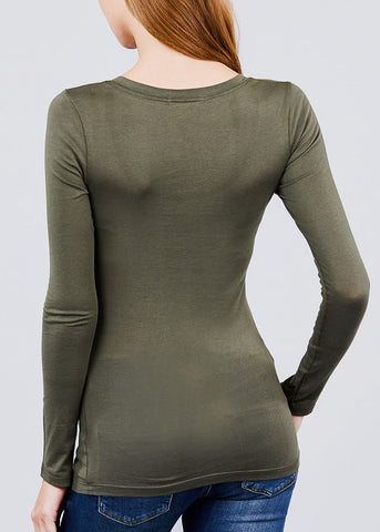 Scoop Neck Long Sleeve Basic Top (Olive)