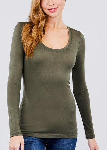 Image of Scoop Neck Long Sleeve Basic Top (Olive)