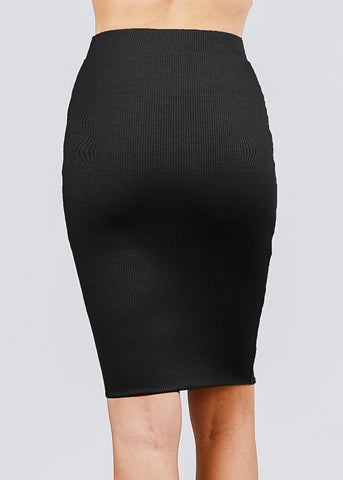Image of Black Ribbed Pencil Midi Skirt