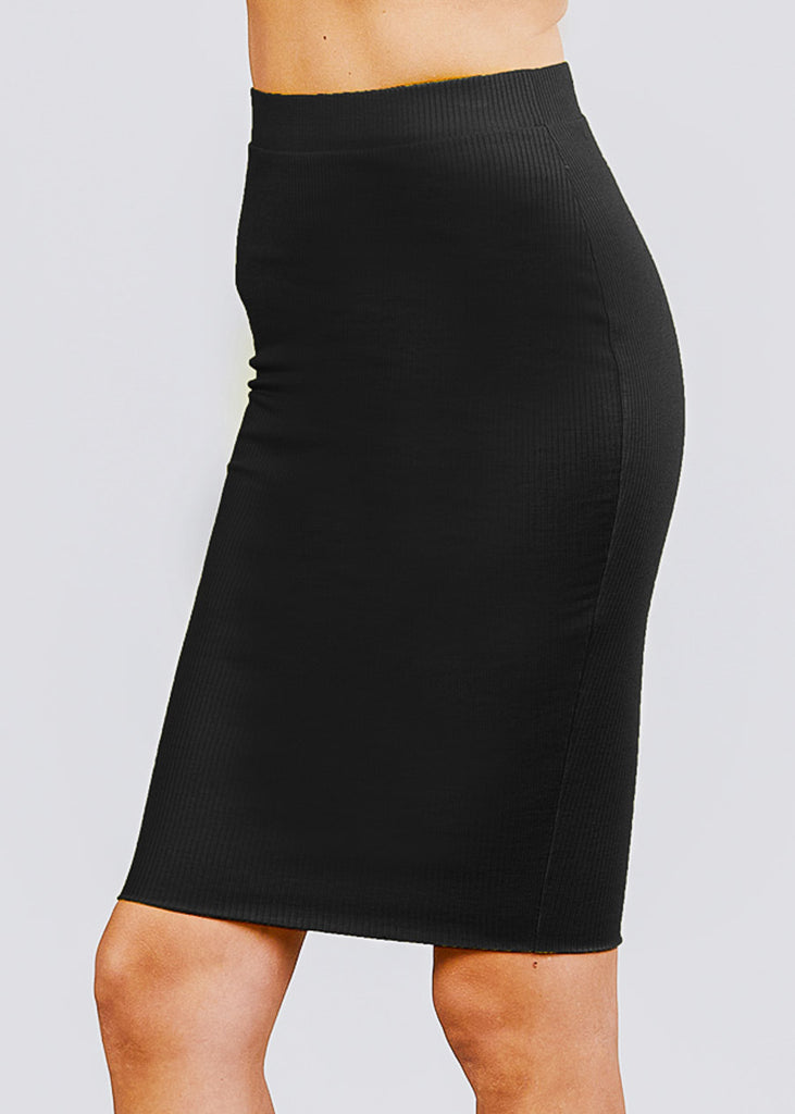 Black Ribbed Pencil Midi Skirt