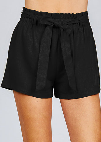 Black Paperbag Linen Shorts