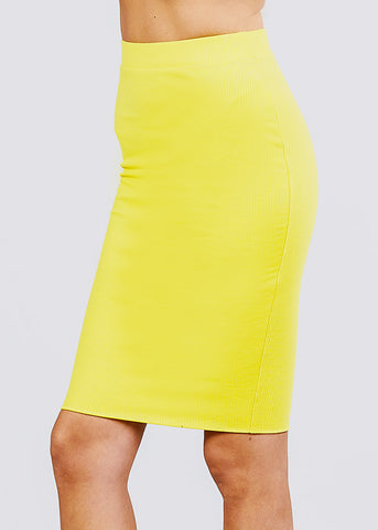 Yellow Ribbed Pencil Midi Skirt