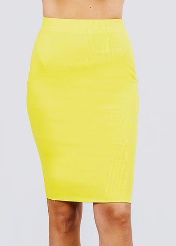Image of Yellow Ribbed Pencil Midi Skirt