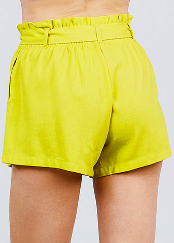 Neon Green Paperbag Linen Shorts