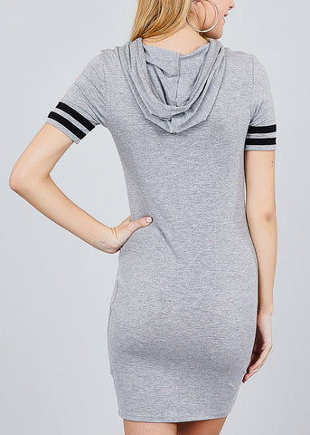 Image of Stripe Sleeves Grey Hoodie Mini Dress