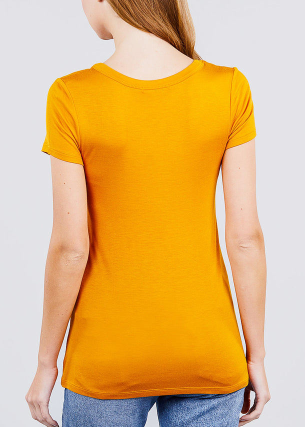 Short Sleeve V Neck Mustard Top