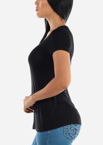 Short Sleeve V Neck Black Top
