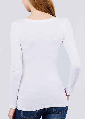 Scoop Neck Long Sleeve Basic Top (White)