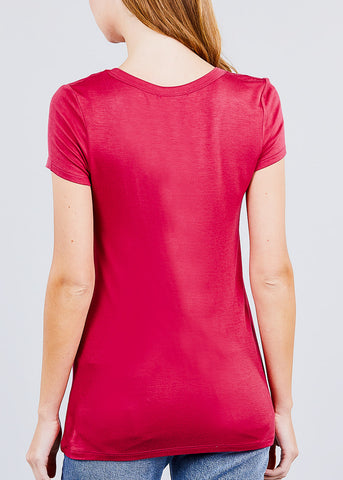 Short Sleeve V Neck Brick Red Top
