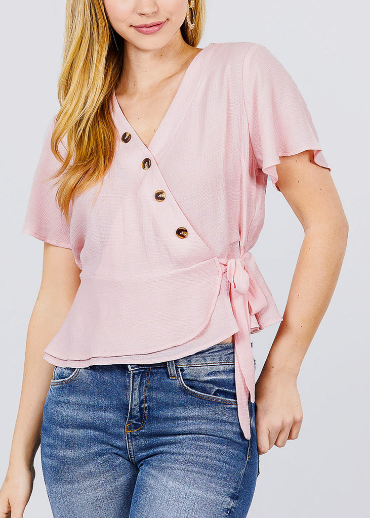 Short Sleeve Wrap Front Causal Pink Top