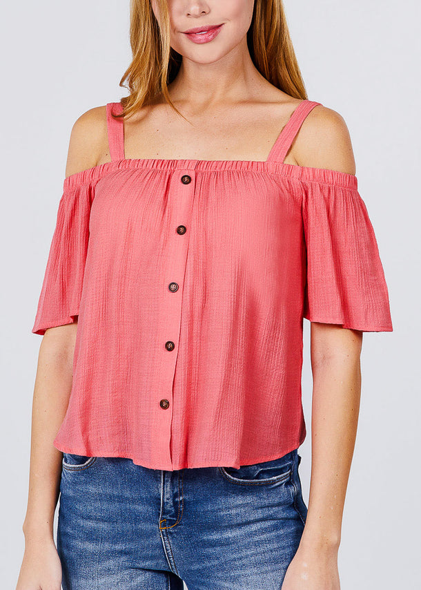 Lightweight Cold Shoulder Papaya Top