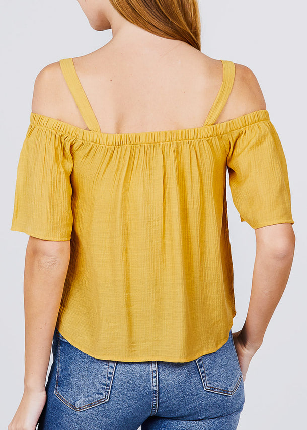 Lightweight Cold Shoulder Yellow Top