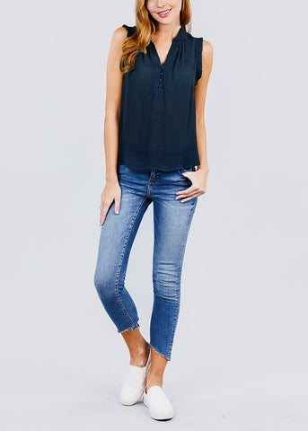 Ruffle Sleeve Button Down Navy Top