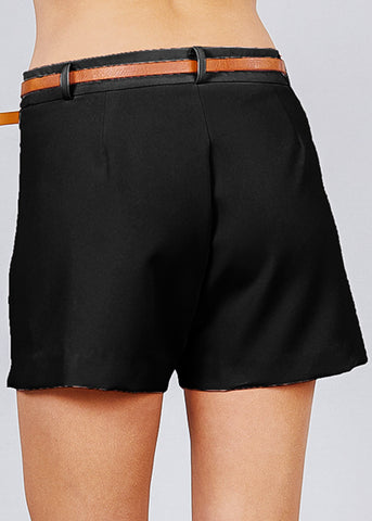 Image of Front Slit Hem Black Belted Shorts