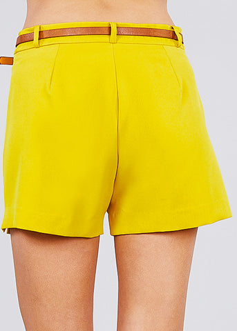 Image of Front Slit Hem Yellow Belted Shorts