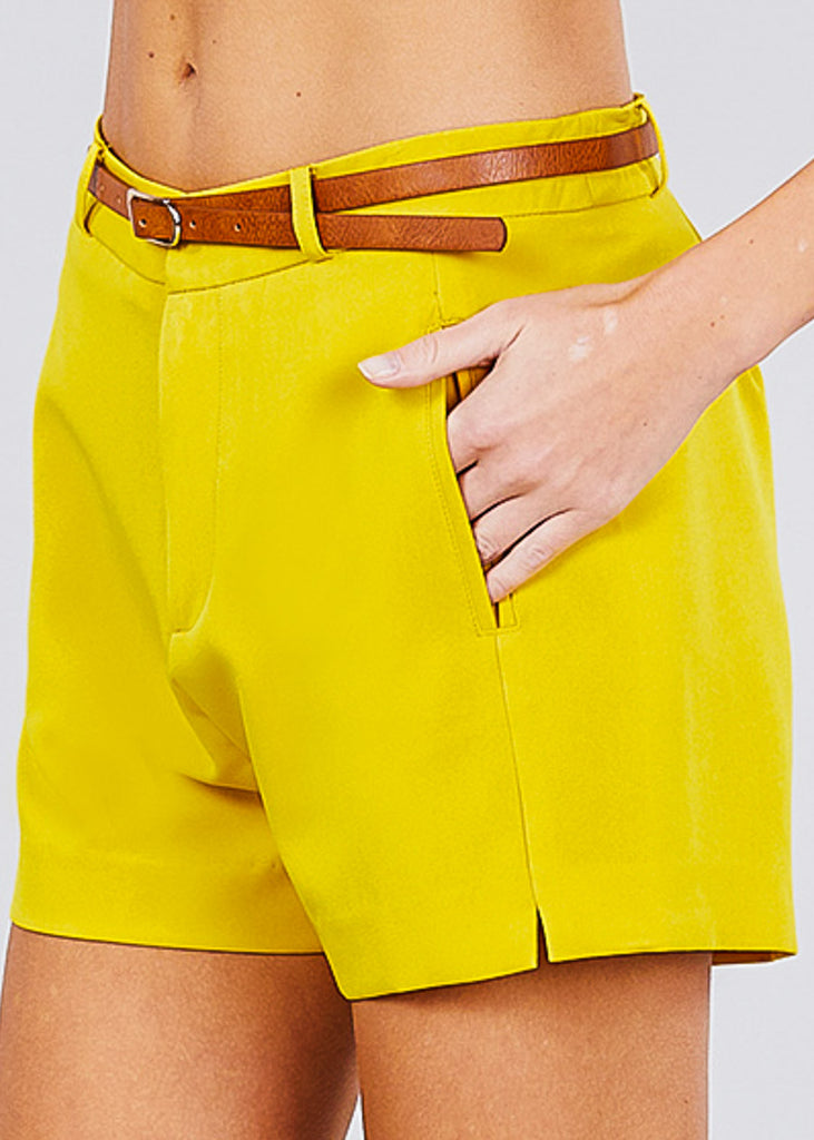 Front Slit Hem Yellow Belted Shorts