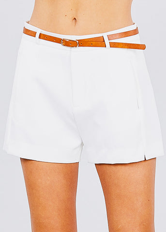 Image of Front Slit Hem White Belted Shorts