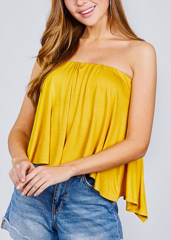Image of Strapless Open Back Mustard Top