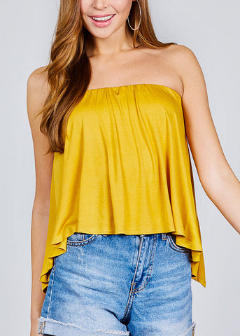 Strapless Open Back Mustard Top