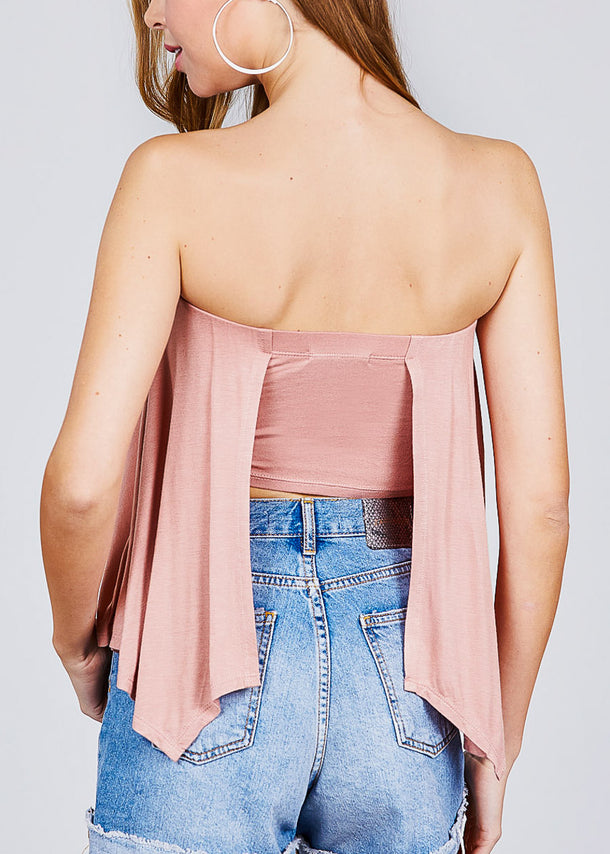 Strapless Open Back Pink Top