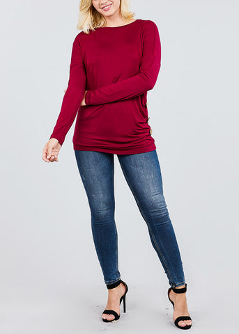 Image of Button Detail Burgundy Tunic Top