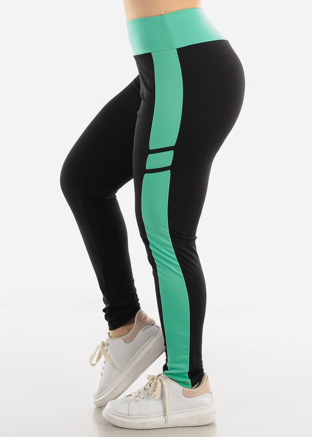 Black & Mint High Waist Leggings