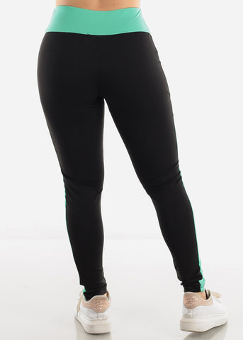 Image of Black & Mint High Waist Leggings