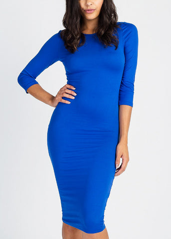 Blue Quater Sleeve Bodycon Midi Dress