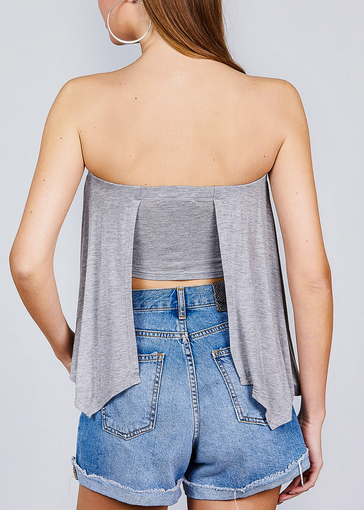 Strapless Open Back Grey Top