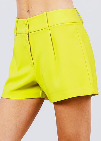 Image of High Waisted Yellow Dressy Shorts
