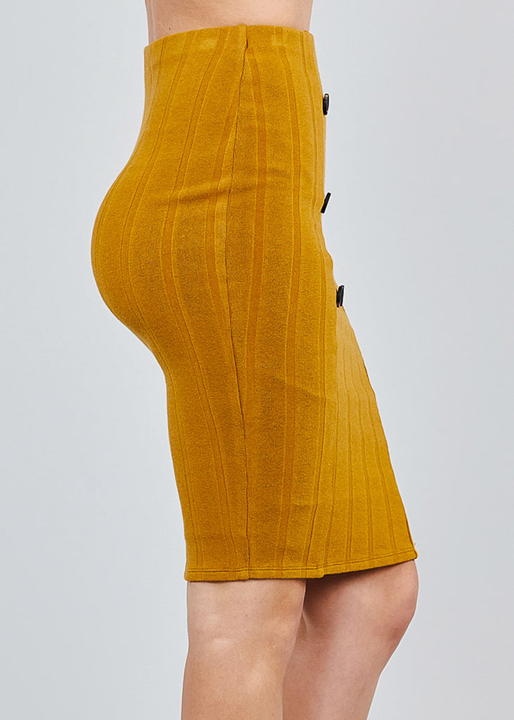 Button Front Camel Ribbed Midi Skirt
