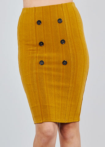 Image of Button Front Camel Ribbed Midi Skirt