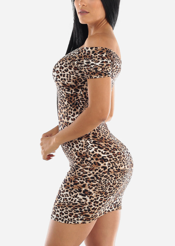 Off Shoulder Animal Bodycon Mini Dress