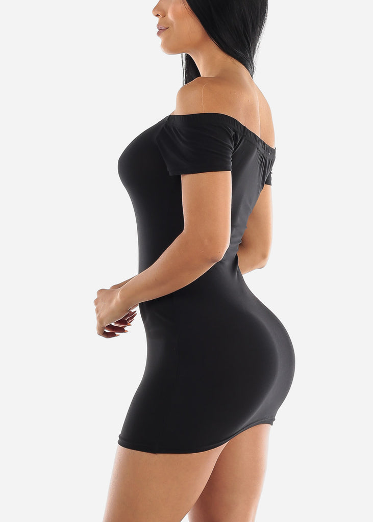 Off Shoulder Black Bodycon Mini Dress