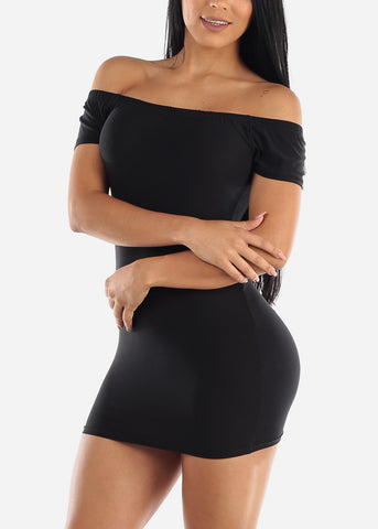 Image of Off Shoulder Black Bodycon Mini Dress