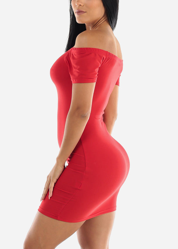 Off Shoulder Red Bodycon Mini Dress