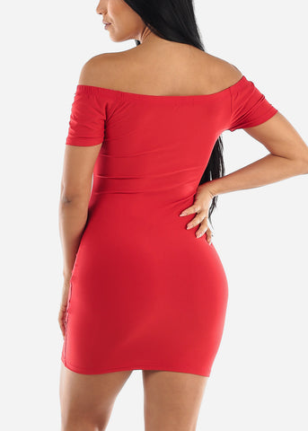 Image of Off Shoulder Red Bodycon Mini Dress