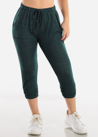 Pull On Dark Green Capris