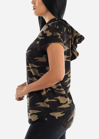 Short Sleeve Camo Tunic Top