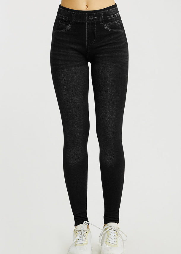One Size Faux Denim Black Leggings