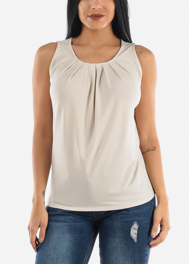 Cream Pleat Top